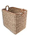KOUBOO Rectangular Handwoven Anson Storage Basket In Twisted Sea Grass with Decorative Wood Frame