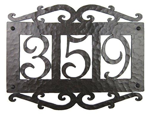 Spanish Mediterranean Custom Hammered Wrought Iron 3 Number Address Plaque APH13