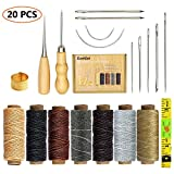 SIMPZIA 20 Pieces Leather Craft Tools with Hand Sewing Needles Drilling Awl Waxed Thread and Thimble for Leather Upholstery Carpet Canvas DIY Sewing: more info