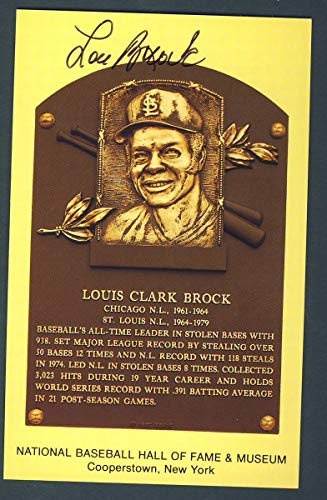 Lou Brock St. Louis Cardinals Signed 3 1/2 x 5 1/2 Hall of Fame Post Card 124263