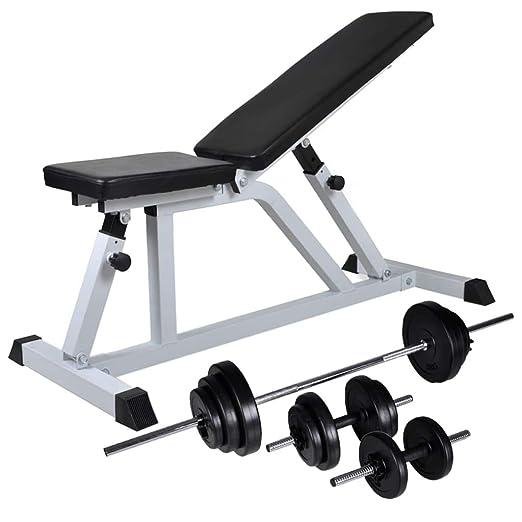 Festnight- Banco de Musculación con Pesas y Mancuernas Fitness 30 ...