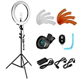 Neewer Photo Studio LED Ring Light Lighting Kit - 14-inch Outer Dimmable LED Ring Light,6.5 feet Light Stand, Remote Control,2-in-1 Cellphone Lens,Light Filters for YouTube Video Shooting (US/EU Plug)