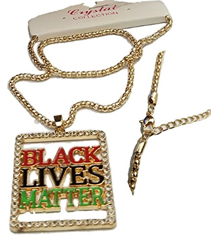 (Bling Iced Out Black Lives Pendant Necklace 24