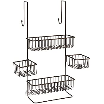 InterDesign Metalo Adjustable Over Door Shower Caddy – Bathroom Storage Shelves for Shampoo, Conditioner and Soap, Bronze