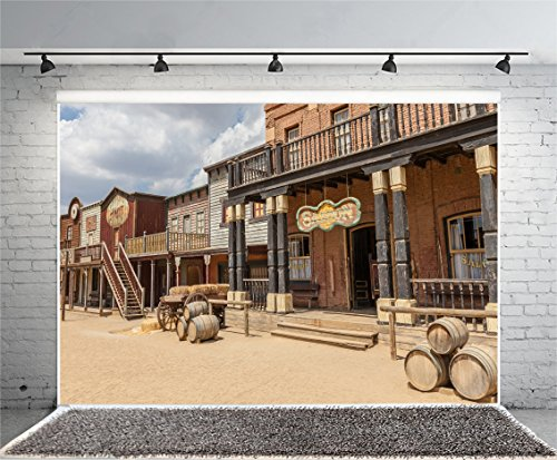 Laeacco 7x5ft Photography Background Old Wild West Cowboy Town Saloon USA Vintage Saloon Central Arizona Background Party Decoration Birthday (Town Decoration)