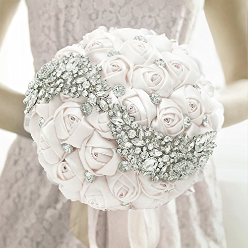 Wedding Bouquet, MyGift Ivory Satin Bride Holding Bouquet, Artificial Roses & Rhinestones Wedding Flowers Contemporary Rose Bouquet