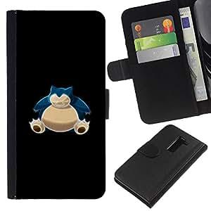 NEECELL GIFT forCITY // Billetera de cuero Caso Cubierta de protección Carcasa / Leather Wallet Case for LG G2 D800 // Azul P0kemon Bulba