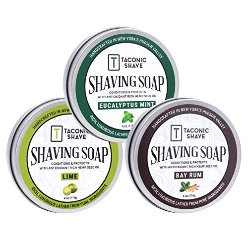 Taconic Shave Barbershop Quality 3 Shaving Soap Variety Pack - with Antioxidant-Rich Hemp Seed Oil - Made in New Yorks Hudson Valley - Bay Rum, Eucalyptus Mint & Lime 4 oz Soaps!