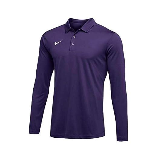 a39264ac NIKE Mens Dri-FIT Long Sleeve Polo Shirt (Purple, X-Large) at Amazon ...
