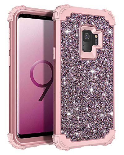 Casetego Compatible Galaxy S9 Case,Glitter Sparkle Bling Three Layer Heavy Duty Hybrid Sturdy Armor Shockproof Protective Cover Case Samsung Galaxy S9-ShinyRose Gold