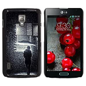 For LG Optimus L7 II P710 / L7X P714 Case , Girl Umbrella Street Deep Meaning - Diseño Patrón Teléfono Caso Cubierta Case Bumper Duro Protección Case Cover Funda