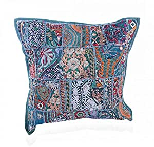 Traditional Design Handcrafted Sequins & Beads Cushion Cover (Green)