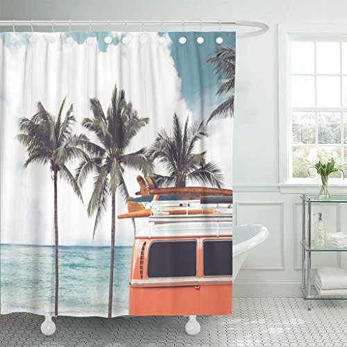 Emvency Shower Curtain Vintage Car Parked Tropical Beach Seaside Surfboard Roof Leisure Waterproof Polyester Fabric 72 x 72 Inches Set with Hooks (Curtain Vintage Tropical Shower)