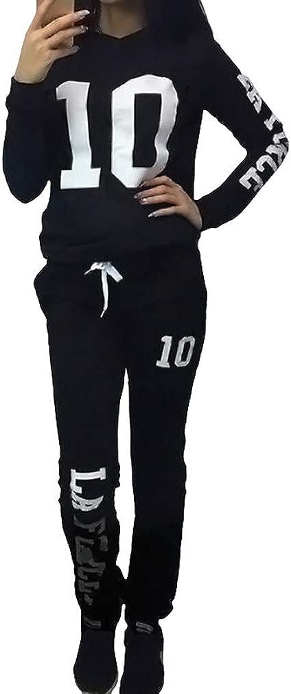 JiXuan Set di Pantaloni da 2 Pezzi Tuta da Donna con Stampa Aderente Aderente con Tuta Sportiva
