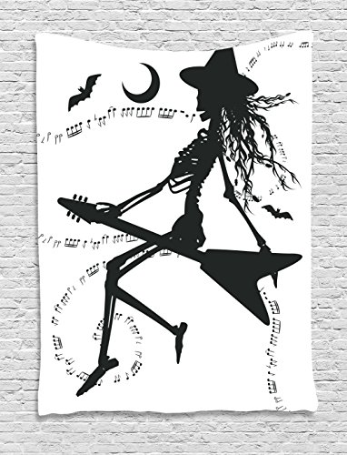 Ambesonne Music Tapestry, Witch Flying on Electric Guitar