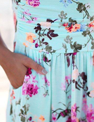 Minetom Mujeres Casual Elegante Sin Tirantes Vestidos Verano Largo de Envuelto Pecho Con Florales Impresa Vestido Coctel Fiesta Noche Y Playa Flor B