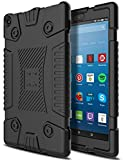 AMENQ Case for Amazon Fire HD 8 Tablet (7th Generation/6th Generation) [Kid Proof] Lightweight Full Body Anti Slip Silicone Protective Cover for All New Fire HD 8 2016/2017-Black