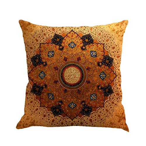 Alixyz Fashion Boho Print Patterns Pillow Cases Linen Sofa Cushion Cover Home Decor Pillow Case (B, M)