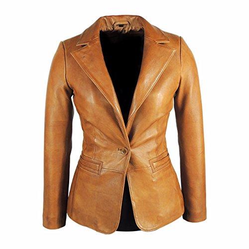 Supple Leather Blazer (Fadcloset Womens Stylish Tan Leather Blazer - Awesome Lambskin)