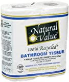 Natural Value 100% Recycled Bathroom Tissue 250 2-Ply Sheets Per Roll, 4 Rolls (Pack of 24)