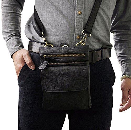 Genda 2Archer Mini Sacchetto Della vita Gancio Cintura Disegno Sacchetto Degli Uomini di Cuoio (Nero)