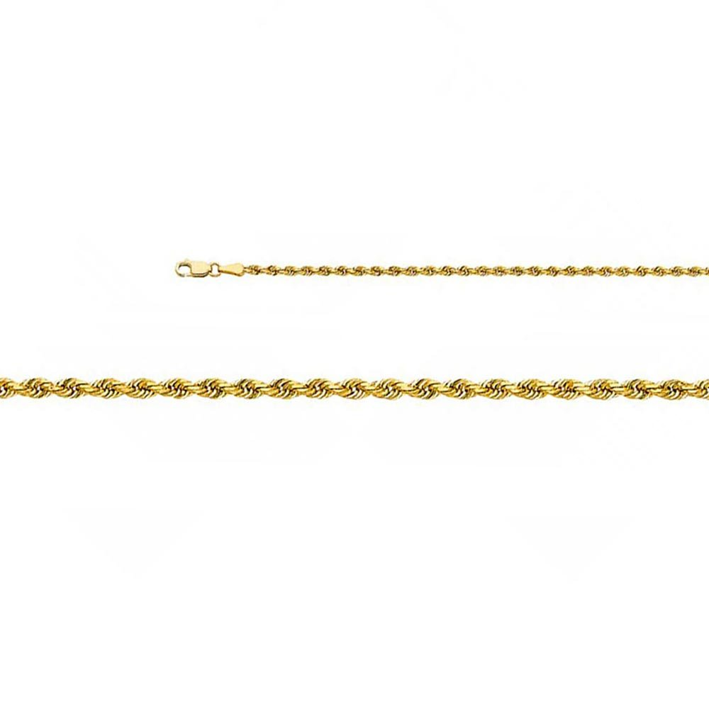 14k Solid Yellow Gold 2.5mm Solid Rope Diamond Cut Chain Necklace with Lobster Claw Clasp - 22''