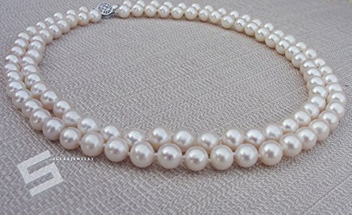 Real Pearls & 14K Solid Gold Clasp Necklace, AAA Grade 8-9MM Cultured Pearls And Gold Double Strands Necklace, Bridal Necklace