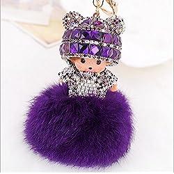 Nueva linda muñeca creativa de cristal de imitación de diamante de Llaveros llavero artesanal flores abstractas Llavero de bola para bolsas de llavero de coche teléfono móvil