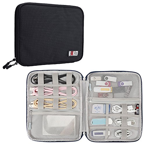 Electronics Accessories Travel Organizer Bag, BUBM Universal Gadgets Storage Pouch for USB Cables Cords Hard Drive Phone Charger-Black