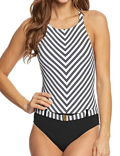 - Bleu Rod Beattie One Piece Swimsuit High Neck Striped Belted Maillot Black White 10