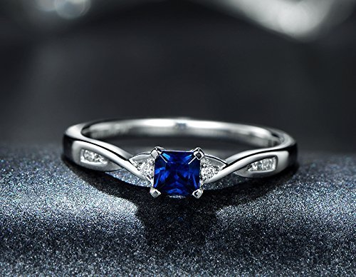 (Solid 18k white gold promise ring,0.07ct SI-H Diamond engagement ring,0.45ct Princess blue Sapphire,Prong set)