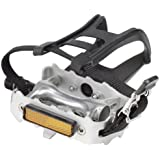 Avenir Alloy Pedals with Toe Clips and Straps, Silver , 9/16 Inch Axle