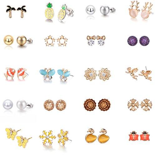 Price comparison product image 20 pairs Gold Plated Mixed Cute Reindeer Pineapple Flower Angel Pearl Snowflake Stud Earrings Set (20 pairs)