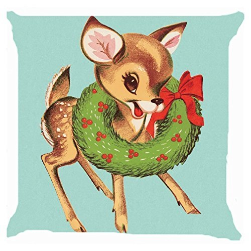 Christmas Reindeer Wreath (Throw Pillow Cover, Onker Cotton Linen Square Decorative Throw Pillow Case Cushion Cover 18
