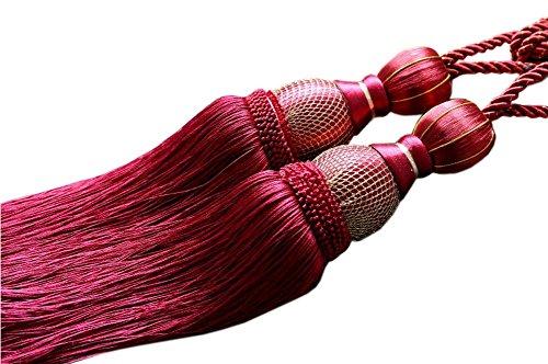 EleCharm 1 Pair Simple Elegant Curtain Cord Tie Drape Holdback Bedroom Curtain Buckle (Wine Red)