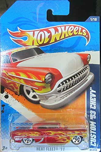 Hot Wheels 2011 '''CUSTOM '53 CHEVY' HEAT FLEET '11 - 1 of 10 - 91/244 Red with Yellow Flames and Custom See Thru Hood Exposes Chromed Out Engine