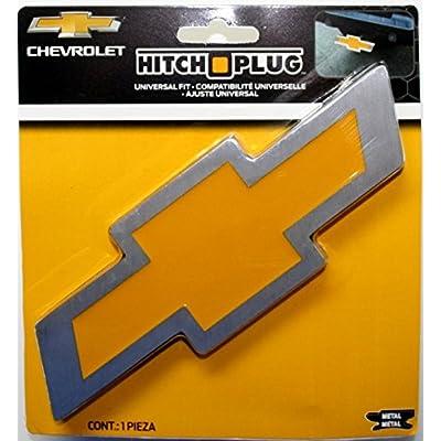 Plasticolor 002207R01 Chevy Bowtie Style Brushed Aluminum Hitch Plug: Automotive