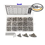 520 Pcs M3 M4 M5 Stainless Steel Hex Button Head Cap Screws and Nuts Assortment Kit, Precise Metric Allen Hex Drive Bolts and Nuts Set with Handy Assortment Tool Box, Allen Wrench Drives for free