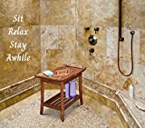 Teak Luxury Shower Bench Stool Seat with Leveling