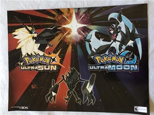 "POKEMON ULTRA SUN AND MOON - 24""x18"" D/S Original Video Game Poster Gamestop Foil 2017"