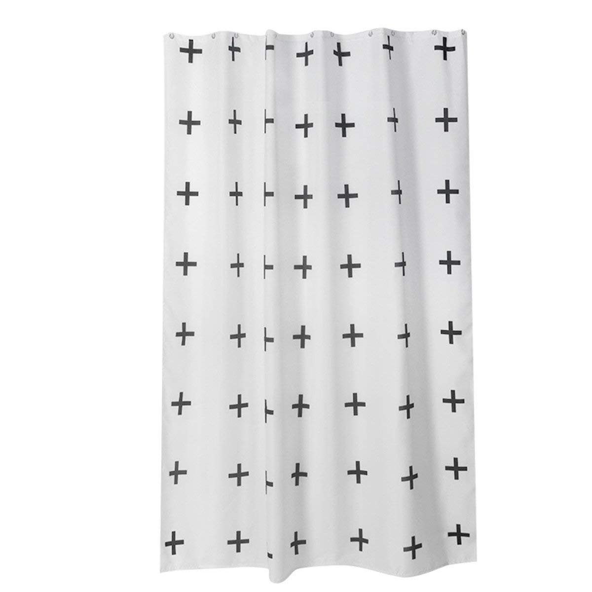 Der Cross-Thickening Opaque Polyester Baths Free Punched Shower Curtains Waterproof Non-Toxic Environmental Bacteria Heavy Duty Metal Grommets Bathroom Accessories (Size : 200cm200cm)