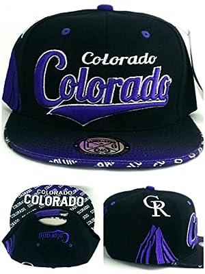Colorado New Top Pro Flash Mountains Rockies Colors Black Purple Era Snapback Hat Cap