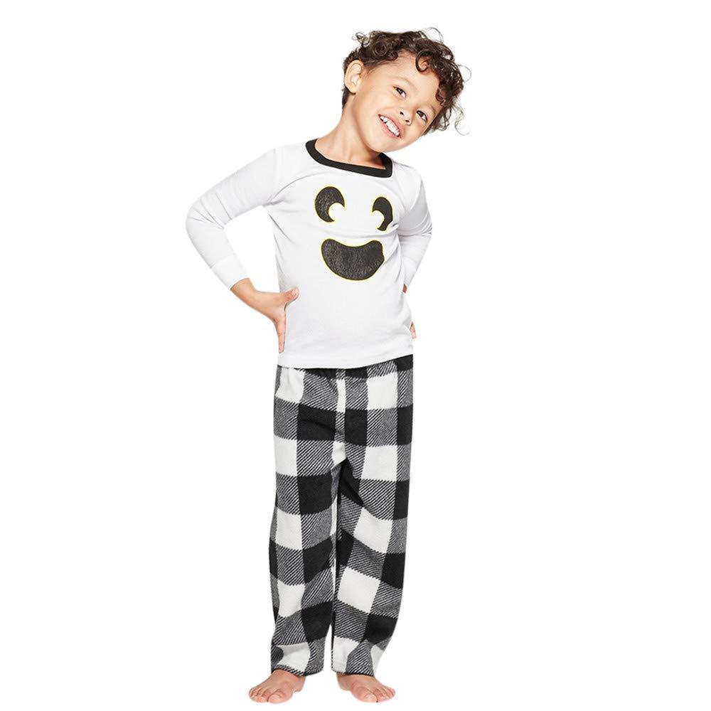 Pants Outfit Kids Baby Family Matching Pajamas Sleepwear Halloween Clothes Sets 2PCS Plaid T-Shirt Tops