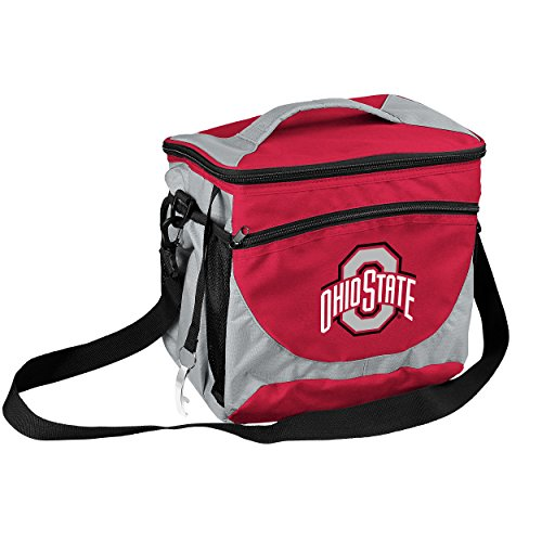 Logo Brands Collegiate 24-Can Cooler with Bottle Opener and Front Dry Storage Pocket Ohio State 24 Can (Ohio State Buckeyes Pocket)