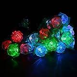 Solar Powered LED Garden Yard Rose String Light Decor Lamp