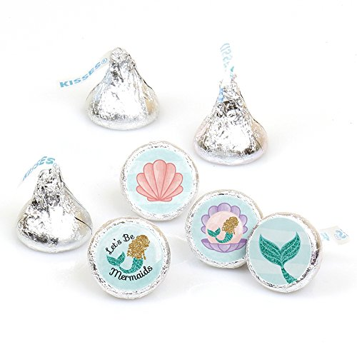 Let's Be Mermaids - Baby Shower or Birthday Party Round Candy Sticker Favors - Labels Fit Hershey's Kisses (1 Sheet of 108) ()