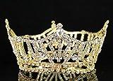 Janefashions Mid-size Full Crown Austrian Rhinestone Crystal Tiara Pageant Bridal T1297g Gold