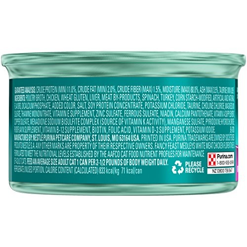Purina Fancy Feast White Meat Chicken Florentine Cat Food - (24) 3 oz. Pull-top Can
