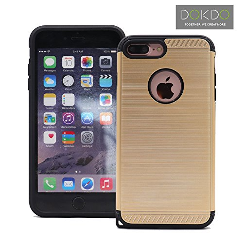 iPhone 8 Plus & iPhone 7 Plus Case, Hybrid Combo Phone Cover for Apple iPhone, New Arrival for iphone7/8 Plus Armor Case by DOKDO (Gold) by DOKDO