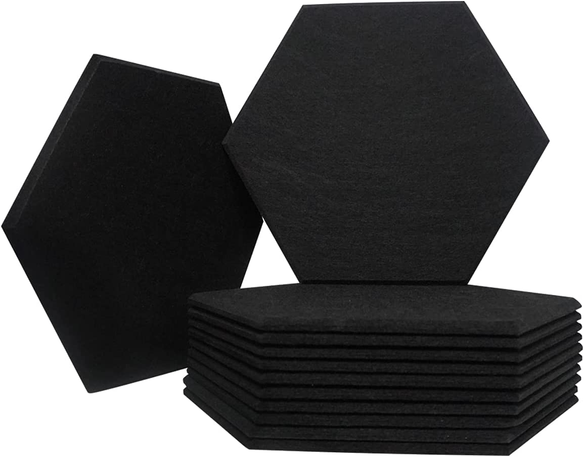 12 Pack Acoustic Panels | Hexagon Beveled Edge Decorative Sound Proofing Padding for Wall | 14